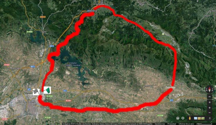 Mapa routing Vitoria-Aizkorri/Aratz-Vitoria